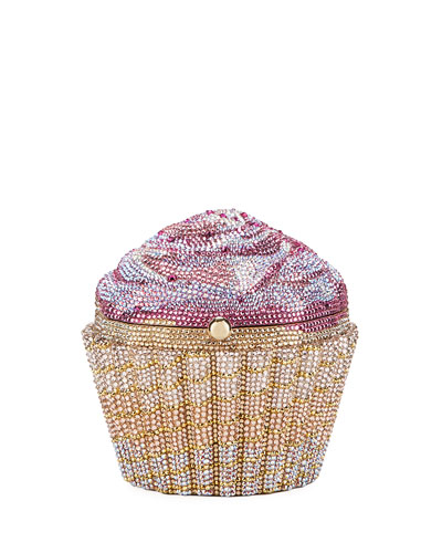 Strawberry Cupcake Crystal Evening Clutch Bag, Gold/Rose/Multi