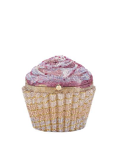 Strawberry Cupcake Crystal Evening Clutch Bag, Gold/Rose/Multi