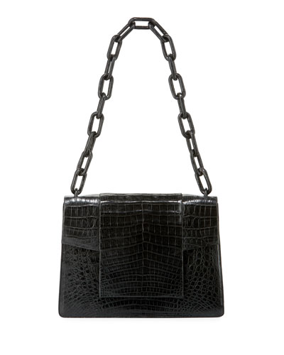 Crocodile Flap-Top Chain Shoulder Bag