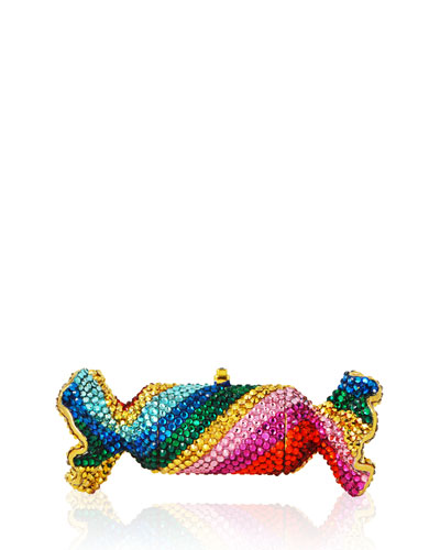 Judith Leiber Couture Rainbow Twist Crystal Candy Pillbox,