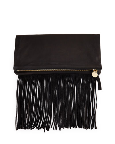 Leather Fold-Over Fringe Clutch Bag, Black