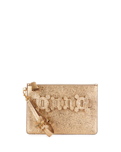 Large Zip-Top Circulus Metallic Pouch Bag, Gold