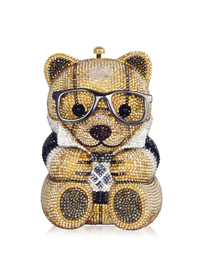 Spencer Teddy Bear Evening Clutch Bag, Brown/Gold