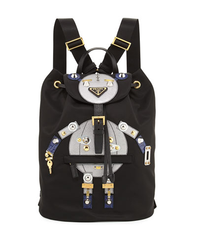 Nylon Robot Backpack, Black/Multi