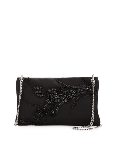 Nylon Beaded Chain Shoulder Bag, Black (Nero)