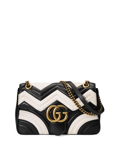 GG Marmont Chevron Shoulder Bag, Black/White