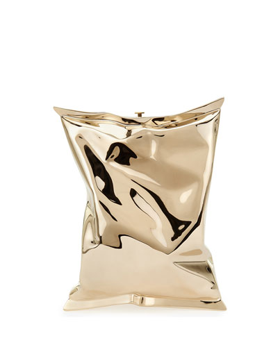 Crisp Packet Metal Clutch Bag, Golden
