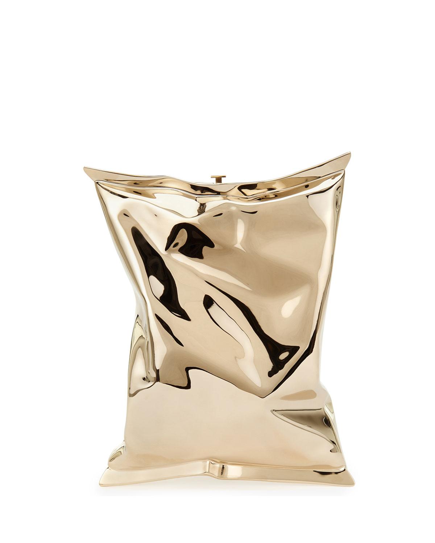 Crisp Packet Metal Clutch Bag, Golden