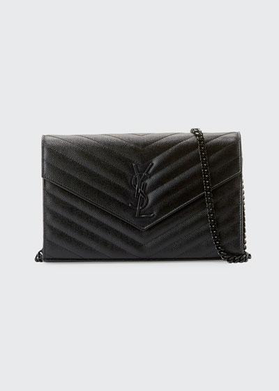 Monogram YSL Matelassé Leather Wallet-on-Chain