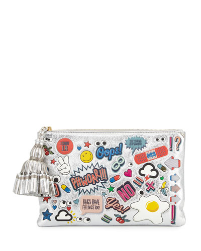 Georgiana All Over Wink Sticker Clutch Bag, Silver