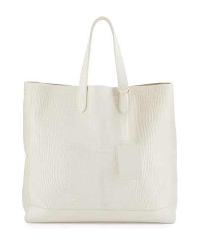 Easy Embossed Calf-Hair Tote Bag, Cream