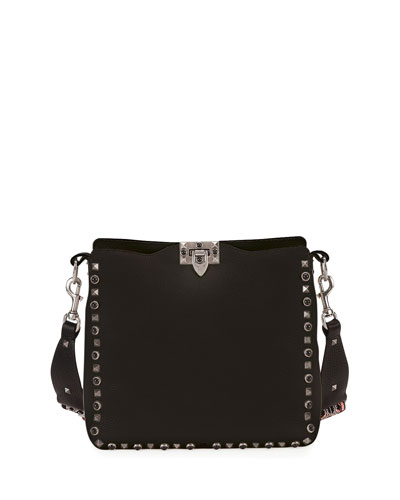 Guitar Rockstud Rolling Noir Loveblade Hobo Bag, Black