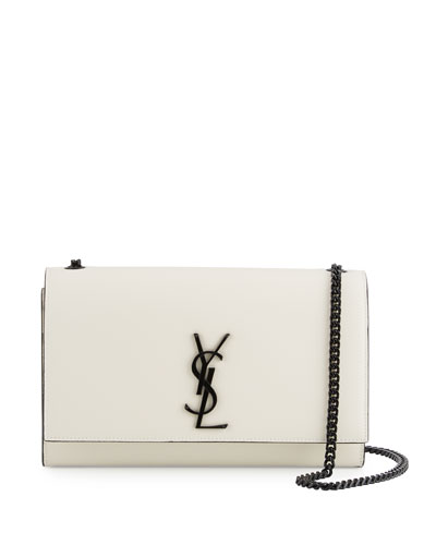 Monogram Kate Medium Chain Bag, White/Black