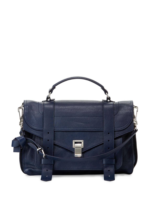 PS1 Medium Leather Satchel Bag, White