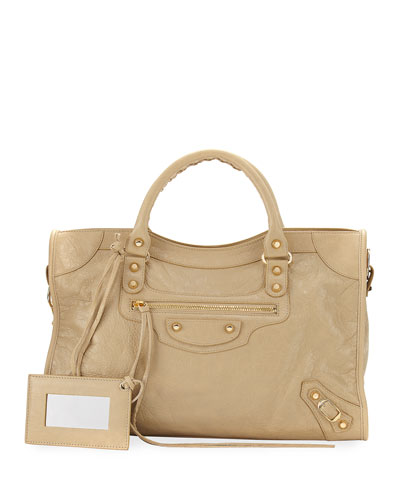Classic City Golden Lambskin Tote Bag, Beige Sable