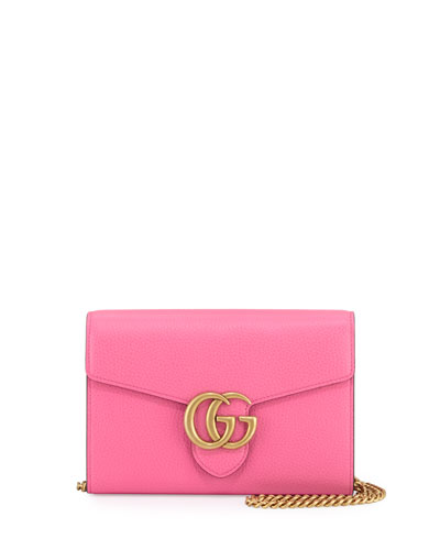 GG Marmont Leather Mini Chain Bag, Pink