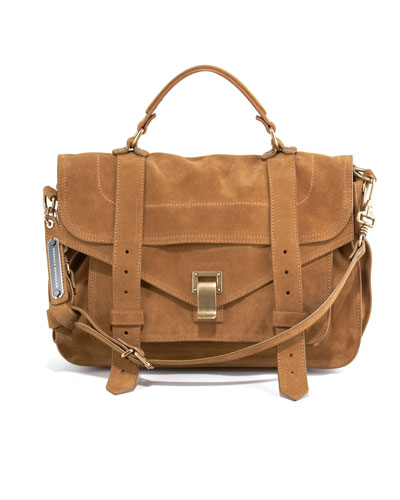 PS1 Medium Suede Satchel Bag, Tobacco
