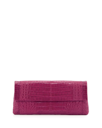 Gotham Crocodile Flap Clutch Bag, Pink Matte