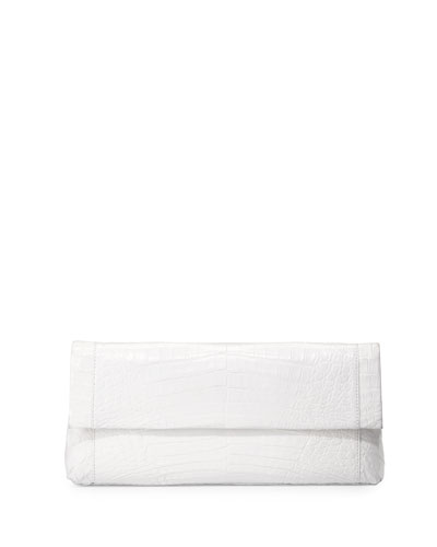 Gotham Crocodile Flap Clutch Bag, White Shiny