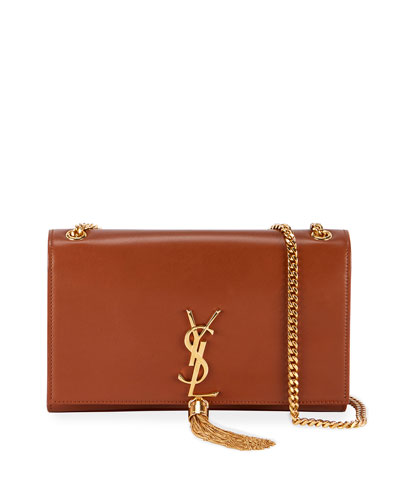 Kate Monogram YSL Medium Leather Tassel Shoulder Bag, Nude