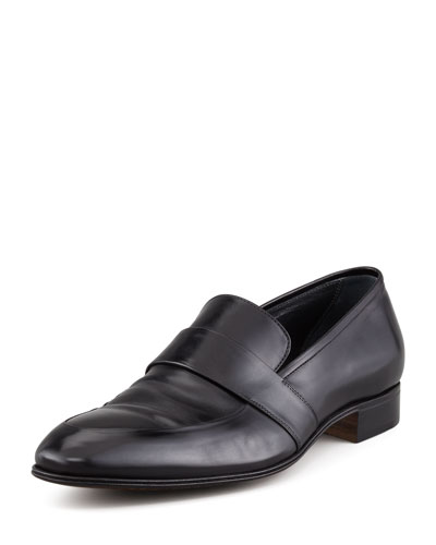 Slip-On Loafer with Elongated Blind Keeper, Black