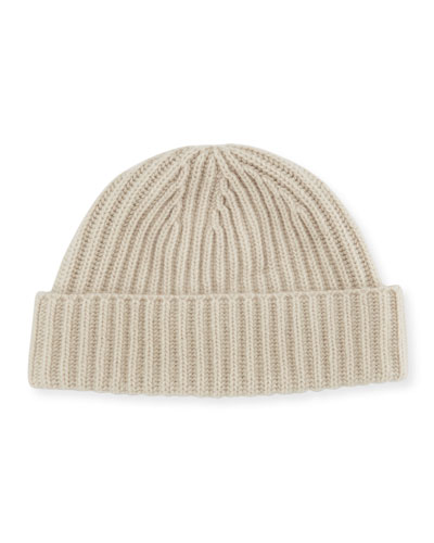 Rib-Knit Cashmere Hat, Ivory