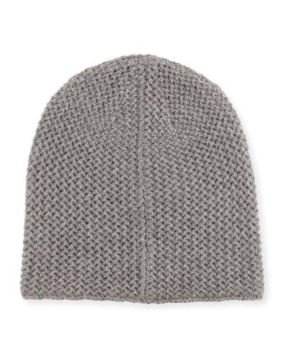 Knit Cashmere Beanie, Gray