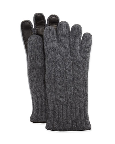Cable-Knit Cashmere & Leather Gloves, Charcoal