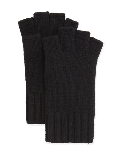 Fingerless Knit Cashmere Gloves, Black