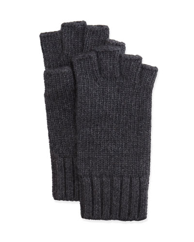 Fingerless Knit Cashmere Gloves, Charcoal