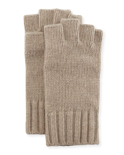 Fingerless Cashmere Gloves, Brown