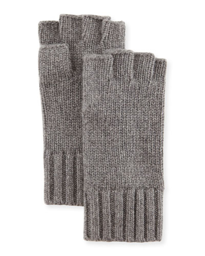 Fingerless Cashmere Gloves, Medium Gray