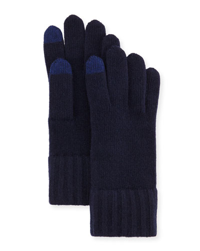 Cashmere Touch Screen Gloves, Navy