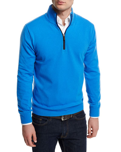 12GG Cashmere Half-Zip Sweater, Blue