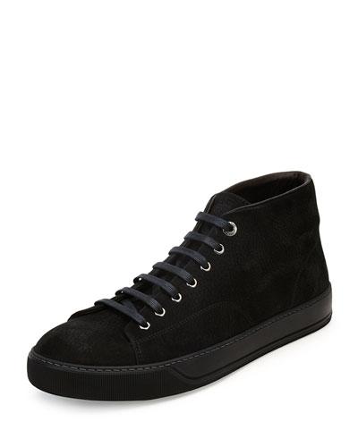 Suede Mid-Top Sneaker, Black