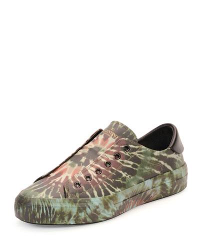 Tie-Dye Leather Laceless Sneaker, Olive