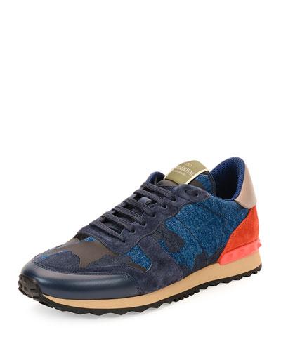 Denim Camo Trainer Sneaker, Navy
