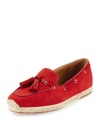 Leonell Suede Loafer Espadrille, Red