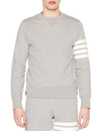 Crewneck Four-Stripe Sweatshirt, Light Gray