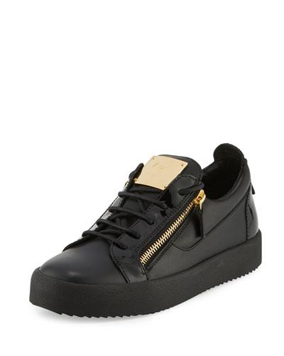 Men's Leather Side-Zip Low-Top Sneaker, Black