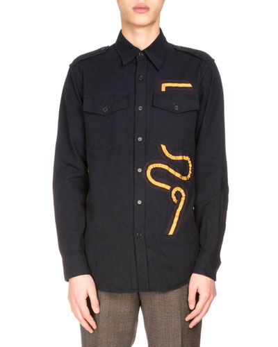 Chale Flannel Shirt w/Striped Applique, Navy