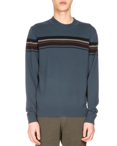 Mateo Striped Merino Wool Sweater, Petrol