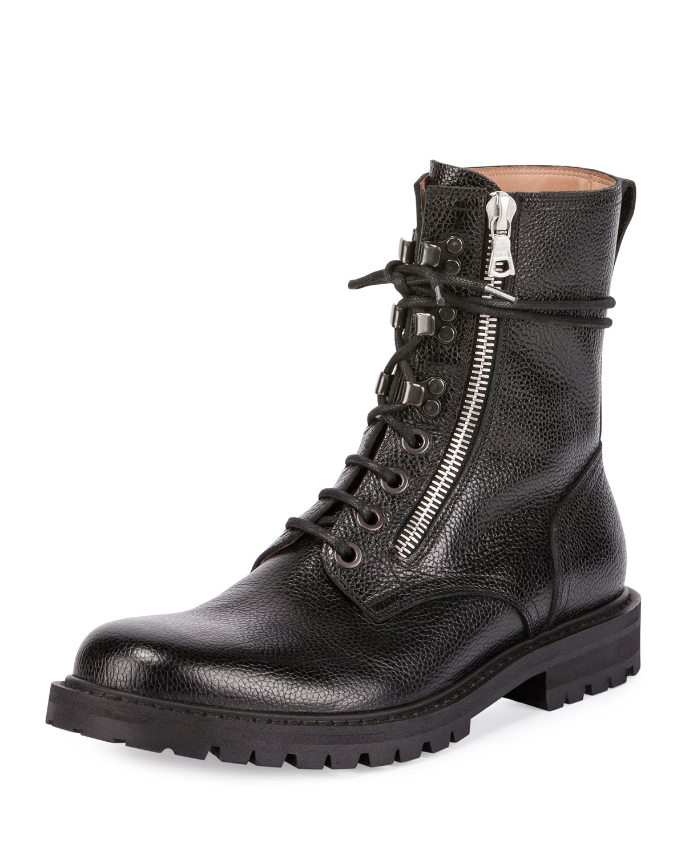 Men's Leather Side-Zip Combat Boot, Black