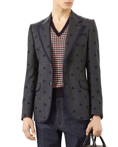Heritage Flannel Jacket with Bees, Gray