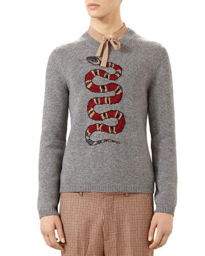 Snake Jacquard Wool Sweater, Gray