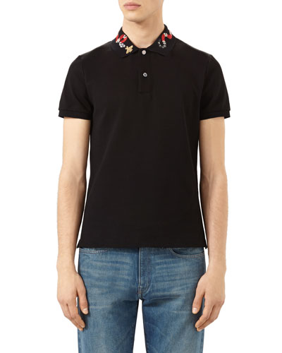 Snake & Bee Embroidered-Collar Polo Shirt, Black