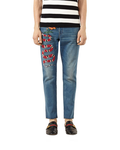 Embroidered Raw-Edge Denim Jeans, Stone Wash
