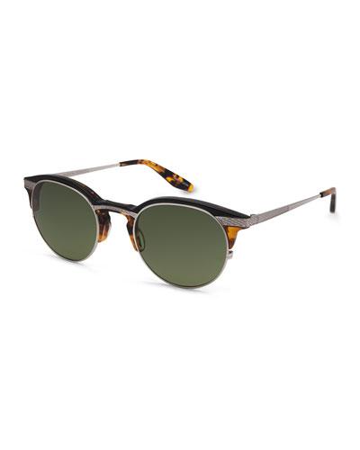 Roux Round Sunglasses, Brown/Amber Tortoise