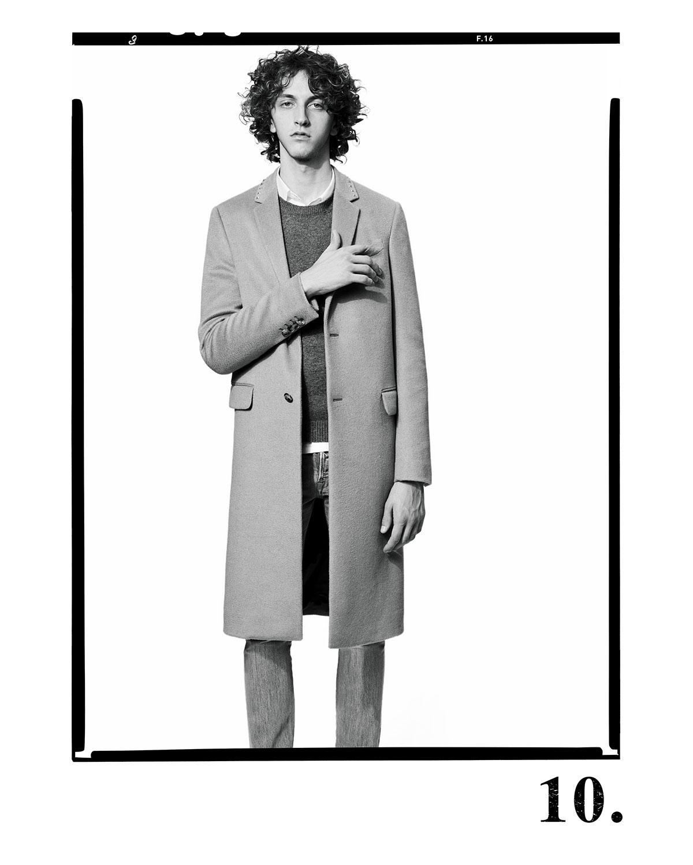 Long Rockstud Two-Button Wool Coat, Camel