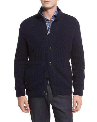 Cable-Knit Cashmere Sweater, Navy